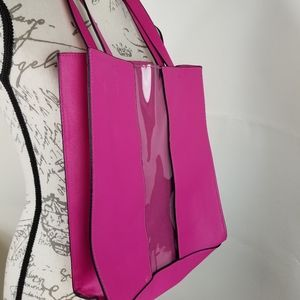A new day Pink tote clear panel shoulder handles